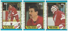 9 1989-90 TOPPS HOCKEY DETROIT RED WINGS CARDS (CHIASSON RC/FEDERKO+++)