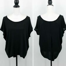 Poof Women's Sz L Dolman Sleeve Sweater Tunic Button Back High Low Hem Black