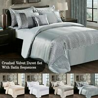 3 Piece Crushed Velvet Atlanta Duvet Cover Silky Satin Sequence with pillow case