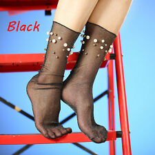 Women Summer Glitter Soft Black Lace Fishnet Mesh Ankle Socks Pearl Stockings