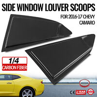 Side Window Louver Cover For Chevy Camaro 2016-18 1/4 Glossy Carbon Fiber