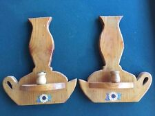 Wooden Wall Candle Holder Set - Decorative Country Design
