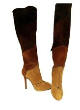 Roger Vivier Brown Suede Patched High Heel Luxury Boots Size 4 (EU 37) RRP £1250