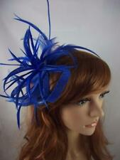 Royal Blue Feather Spray & Sinamay Comb Fascinator - Ascot Wedding Races