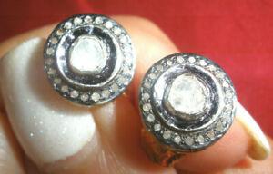RADIANT CLEAN ANTIQUE GENUINE REAL 1 CT OLD ROSE CUT DIAMOND STUD 14K EARRINGS