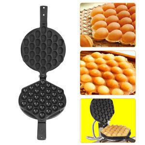 Non Stick Egg Waffle Pans Bubble Eggettes Pans Baking Mold Plate Machine Black