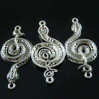 5x 2-strand Grey Rhinestone Diamante Flower Silver Plated Connectors Joiners