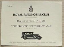 STUDEBAKER PRESIDENT CAR RAC Report of Trial No 680 1928 BROOKLANDS
