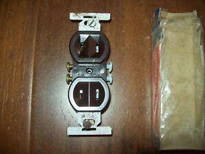 Eagle 736 Brown Bakelite Duplex Flush Receptacle, Vintage NOS 15 Amp 125 Volt