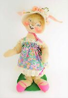 VINTAGE ANNALEE Large Bunny Rabbit In Floral Dress & Straw Hat & Flowers - 20""