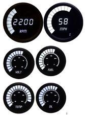 Universal Analog 6 Gauge Set with White LED Bargraph Gauges Black Bezel USA Made