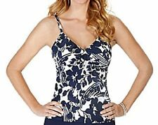 Caribbean Joe Swim Tankini Top Sz 8 Navy Blue White Ruffle Tank Top Swimwear