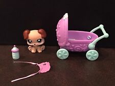 LPS Littlest Pet Shop Brown Puppy Dog # 143 Baby Bottle Bib Carriage, Complete