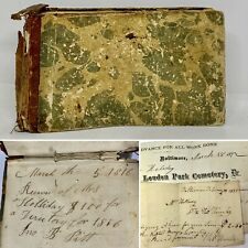 Baltimore Handwritten Receipt Book 1810-1845 Wm Holiday (Holliday) Stone Cutter