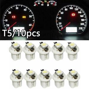 10 x White Car Dashboard Dash Lamp T5 B8 5050 1SMD LED Instrument Light Bulbs