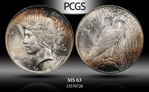 1922 SILVER PEACE DOLLAR PCGS MS 63 WONDERFUL LUSTER LIGHT COLOR TONING