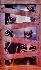 🎃 Halloween Backdrop Wall & Door Decor - Demonic Skeletons