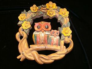 Vtg Retro Handcrafted Wooden Wall Plaque Key Holder Owls on a branch flowers