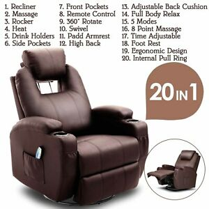 Massage Recliner Chair Swivel & Heated Leather Sofa w/8 Vibration Motors Brown