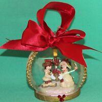 DISNEY PARK MICKEY MINNIE VICTORIAN JEWELED GLASS GLOBE CHRISTMAS ORNAMENT NEW