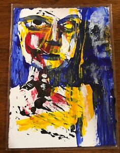 """Jack Larson 2015 Signed """"Zombie"""" Abstract ACEO Original Art 3.5""""X2.5"""" Card"""