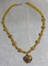 "Goldtone Metal Yellow Glass Bead Yellow Art Glass Heart Pendant 19"" Necklace"