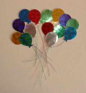 40 Handmade Colourful Metallic Balloons (self adhesive) Card Toppers