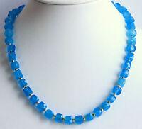 Chalcedon Kette edelsteinkette facettierte Quader blau Collier Selten Edel 46 cm