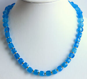 Chalcedony Necklace Precious Stone Faceted Cuboid Blue Rarely Noble 18 1/8in