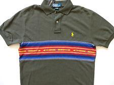 New Ralph Lauren Polo Army Green Indian Print 100% Cotton Summer Shirt sz S