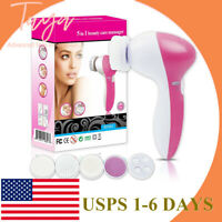 5 In 1 Deep Clean Electric Facial Cleaner Face Skin Care Brush Massager Beauty