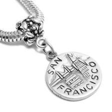 925 Sterling Silver San Francisco Disc Euro Bead Charm