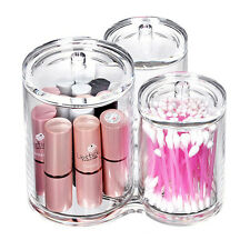 3PCS Acrylic Storage Cotton Ball Swab Pad Organizer Holder Container Makeup Box