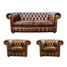 Chesterfield Ledersofa 2+1+1 Textil Couch Stoff Polster Sofa Garnitur Sitz Neu