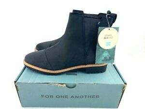 NEW TOMS Cleo Women's 7.5 Ankle Boots Water Resistant Black Leather 10014154