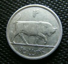 Irish 1942 Silver One Shilling Coin Scarce Year Old Ireland Vintage Bull Harp 1s