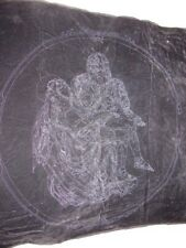 "PIETA  JESUS & MARY PICTURE Stamped BLACK VELVET U PAINT Liquid Embroidery 43"""