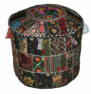 Round Poufs Indian Ottomans Hippie Floor Decor Footstools Patchwork Large Pouffe