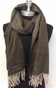 Men's 100% CASHMERE Scarf Brown / Beige Herring Bone Tweed Design Soft Wrap Wool
