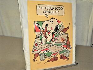 "Vintage Peanuts Snoopy Poster ""If It Feels Good Overdo It"" Hallmark 19""x14"" Rare"