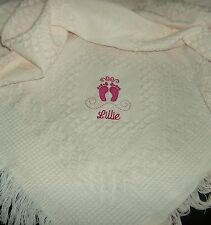 Personalised Deluxe Baby Shawl Blanket Pink Embroidered Feet Design newborn gift