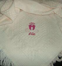 Deluxe personalizzata Bambino Coperta Scialle Rosa Ricamato Piedi Design neonato regalo