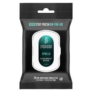 AXE Apollo On The Go Deodorant Wipes  25 Ct Moistened Towelettes Apollo Scent