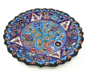 """Turkish Polychrome Hand Painted Ceramic Plate 12"""" Christmas Gift Home Decor"""