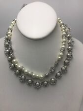 $175 givenchy silvertone crystal  pearl double row collar necklace go59A