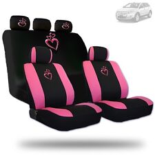 Deluxe Pink Heart Car Seat Covers and Headrest Covers Gift Set For Ford