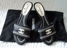 Chanel Black & White Leather Slip On Mules Shoes Size 35 1/2