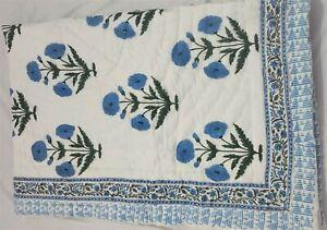 Warm Traditional Floral Block Printed Bedding Handmade Reversible Jaipuri Quilts