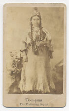 TE-U-PUM AMERICAN INDIAN WOMAN 1870's CDV PHOTO MODOC OIL AD, CORRY, PA.