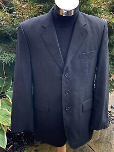 Aquascutum Mens Wool Blazer London Luxury Sports Jacket Dark Grey / Black 40R